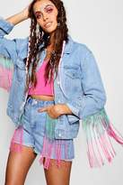 boohoo Jodie Oversized Fringe Detail Denim Jacket