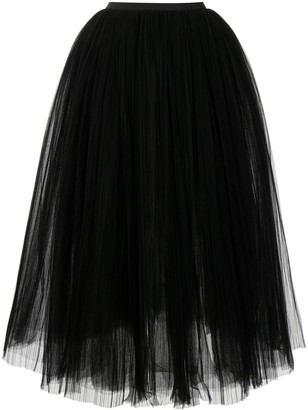 KHAITE Pleated-Tulle Full Skirt