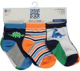 "Tic Tac Toe Baby Boys' ""Smiley Dinos"" 6-Pack Ankle Socks"