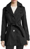 Via Spiga Water-Resistant Belted Trench Coat, Black