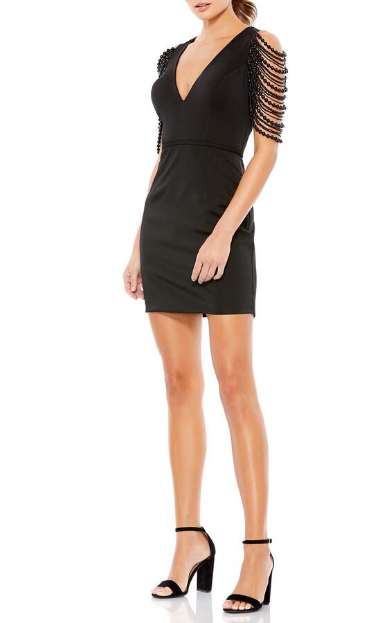 Thumbnail for your product : Mac Duggal Beaded-Sleeve V-Neck Mini Dress