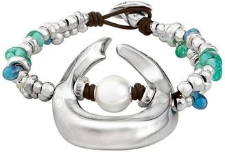 Uno de 50 Dune Faux Pearl Charm & Beaded Bracelet