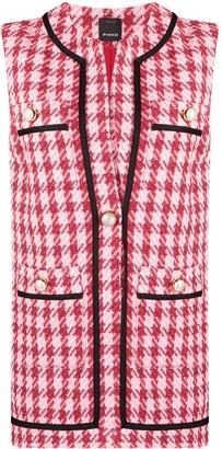 Pinko Check-Pattern Sleeveless Jacket
