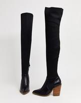 Asos Design DESIGN Kansas western thigh high boots in black