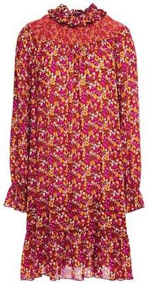 Anna Sui Ruffle-trimmed Shirred Floral-print Georgette Mini Dress
