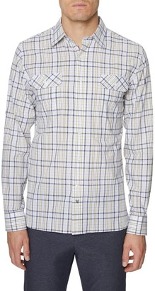 Hickey Freeman Seersucker Bedford Plaid Button-Up Shirt