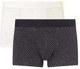 Sunspel Dot Plain Trunks, Pack Of 2, White/navy