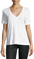 Zadig & Voltaire Distressed V-Neck Tee, White