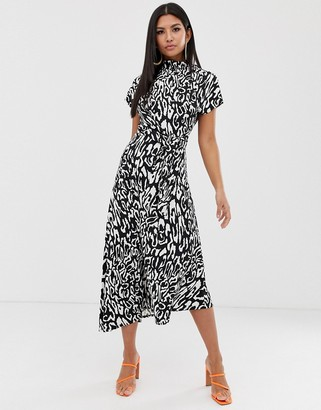 Asos DESIGN cowl neck tie waist maxi dress in mono animal
