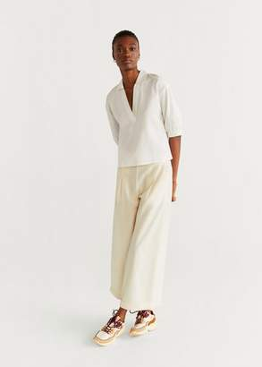 MANGO V-neckline blouse off white - 4 - Women