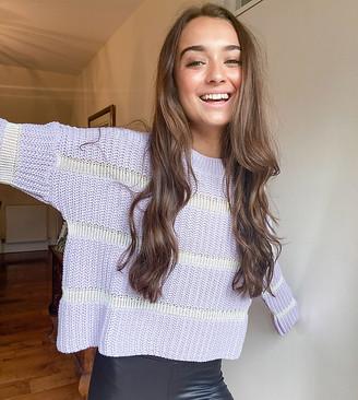 ASOS DESIGN Petite scoop neck jumper in stripe in purple