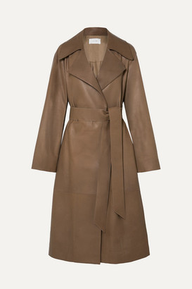 The Row Efo Belted Leather Trench Coat - Beige