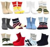 Maroon & Black Stripe 12-Pair Crew Socks Set
