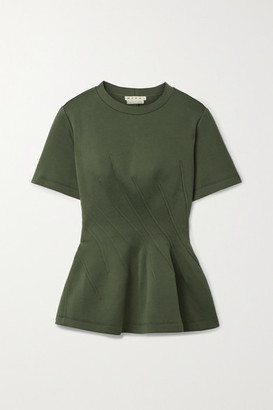 Marni Paneled Cotton-blend Jersey Peplum T-shirt - Army green