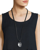eskandar Crystal Pendant Necklace on Leather Cord