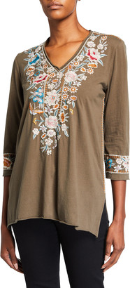 Johnny Was Serafina Floral Embroidered 3/4-Sleeve Knit Top
