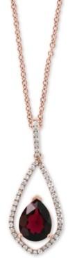 "Effy Rhodolite Garnet (1-3/8 ct. t.w.) & Diamond (1/5 ct. t.w.) 18"" Pendant Necklace in 14k Rose Gold"