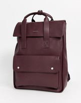Asos Design DESIGN backpack in burgundy faux leather with double straps