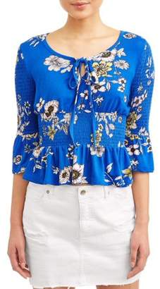 Eye Candy Juniors' Printed Smocked Bell Sleeve Tie Front Blouse