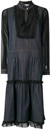 Coach Ruffle Trim Midi Dress