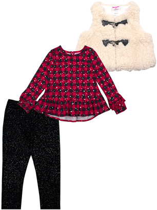 Nannette Baby Girls' Outerwear Vests RED - Red & Black Buffalo Check Sparkle Ruffle-Hem Top Set - Infant & Toddler