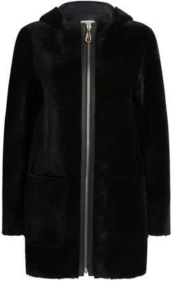 Sandro Shearling Hooded Coat