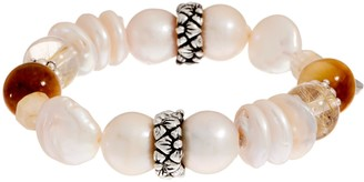Stephen Dweck Sterling Silver Multi-Gemstone Stretch Bracelet