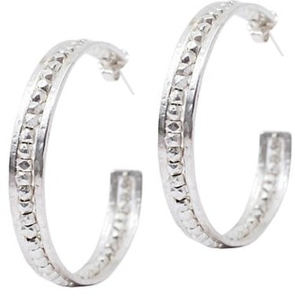 Chan Luu Sterling Silver Nugget-Lined Hoop Earrings