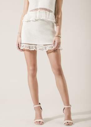 Moon River Ribbed Ruffle Trim Mini Skirt