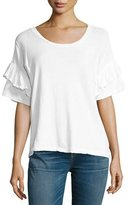 Current/Elliott Distressed Ruffle Roadie Tee, White