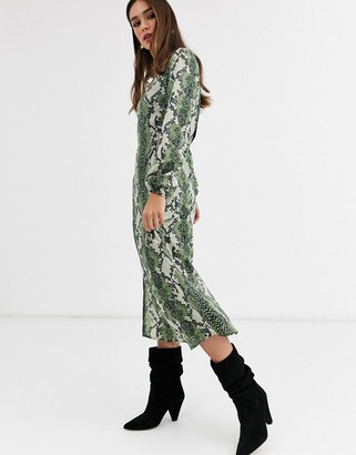 Glamorous midi shift dress in bold snake print-Green