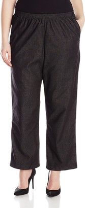 Alfred Dunner Women's Plus-Size Black Denim Proportioned Medium Pant