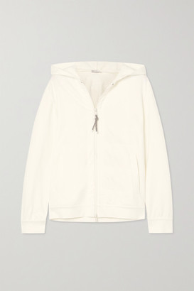Brunello Cucinelli Bead-embellished Cotton-blend Jersey Hoodie - White