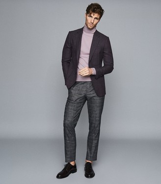 Reiss Connoisseur - Wool Textured Slim Fit Blazer in Bordeaux