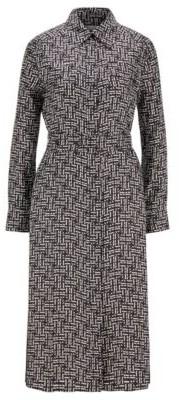 HUGO BOSS Silk twill shirt dress with monogram print