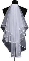 Chickle Women's Lace Applique 2 Layers Short Bridal Comb Wedding Veils