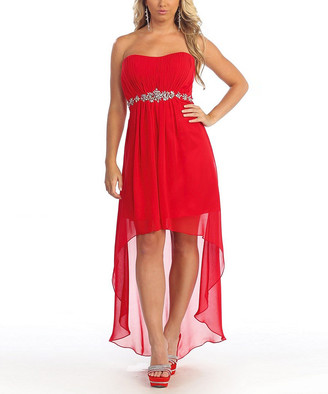 MayQueen Women's Special Occasion Dresses Red - Red Mesh-Overlay Hi-Low Dress - Women & Plus
