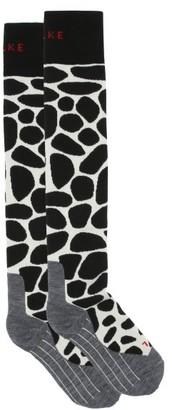 Falke Sk4 Giraffe-spot Padded Knee-high Ski Socks - Black Multi