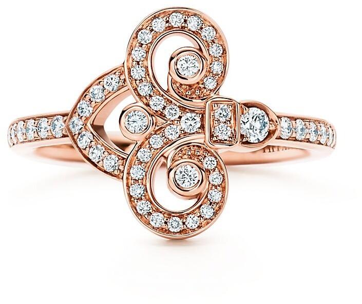 Tiffany & Co. Fleur de Lis ring in 18k rose gold with diamonds