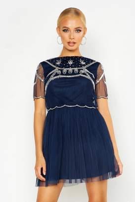 boohoo Embellished Top Skater Dress