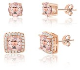 Bliss 18k Rose Gold Sterling Silver Duo Square Halo And Round Four Prong Cz Post Earring Set.
