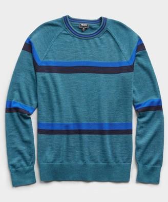 Todd Snyder Fine Italian Merino Wool Stripe Crew in Turquoise