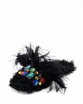 Miu Miu Jeweled Furry Flat Mule