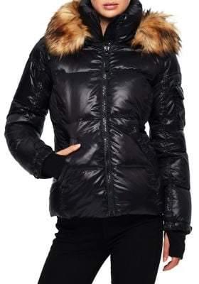 S13 Faux Fur Gloss Nylon Down Puffer Coat