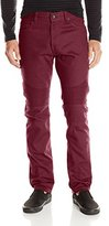 Southpole Men's Twill Pants Long in Thick Bull Twill Fabric and Moto Biker Details on Knees