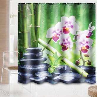 "Hallolure 3/4PCs/Set 71x71"" Green Bamboo Pebble Orchid Waterproof Shower Curtain & Pedestal Rug + Lid Toilet Cover + Bath Mat Bathroom Set for Home Room Decor"