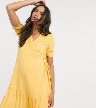 ASOS DESIGN Maternity wrap mini dress in buttermilk