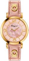 Salvatore Ferragamo 39mm Gancio Deco Watch w/ Pink Patent Leather Strap