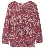 Lucky Brand Lace Inset Print Top