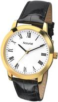 Accurist Accurist White Dial Black Leather Strap Mens Watch